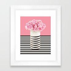 Roses and stripes Framed Art Print
