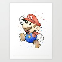 Mario Watercolor Art Print