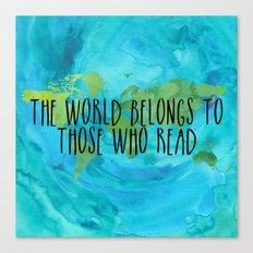 The World Belongs to Those Who Read - Watercolour Canvas Print