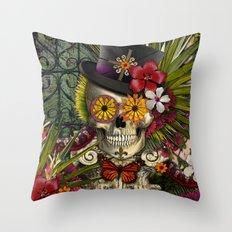 Baron in Bloom - Botanical Skull Baron Samedi Voodoo Deity Throw Pillow