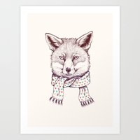 Fox And Scarf Art Print