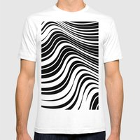 Organic Stripes #08: Bla… Mens Fitted Tee White SMALL