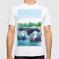 Hippos Mens Fitted Tee Ash Grey SMALL