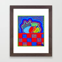 Cat in the Kitchen Glow Framed Art Print