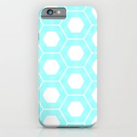 iPhone & iPod Case featuring Nieuwland Powder Blue Hexagons Pattern by Stoflab