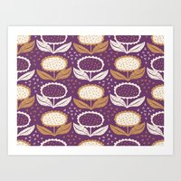 Sunflowers In Purple And… Art Print