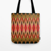 Orange Green Red Zigzag Abstract Pattern Tote Bag