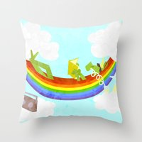 Rainbow Hammock Unicorn Throw Pillow