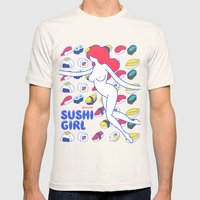 Sushi Girl Mens Fitted Tee Natural SMALL