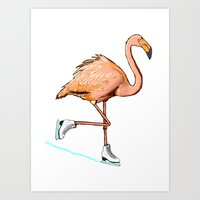 Flamingo on ice Art Print