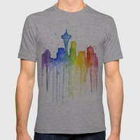 Seattle Rainbow Watercol… Mens Fitted Tee Athletic Grey SMALL