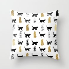 Kitty Cats in Rose Gold and Black and White Marble Throw Pillow