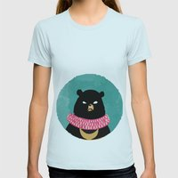 CIRCUS BEAR Womens Fitted Tee Light Blue SMALL