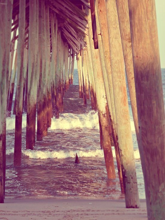 Carolina Beach Pier at Low Tide Art Print
