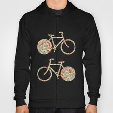 Whimsical cute girly floral retro bicycle Hoody