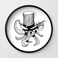 Squid is lost in hat Wall Clock