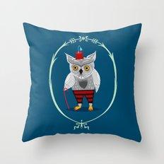 Olaf The Old Grey Owl Throw Pillow