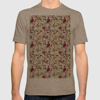 painted floral Mens Fitted Tee Tri-Coffee SMALL