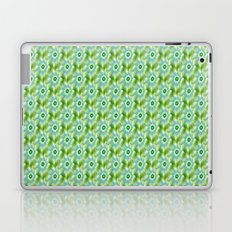 Pale Blue Green and White Flower tiled Laptop & iPad Skin