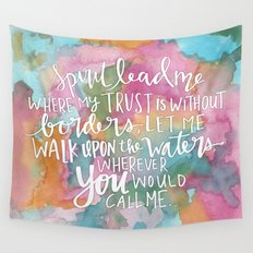 Spirit Lead Me - Inspirational Quote with pink flowers Wall Tapestry