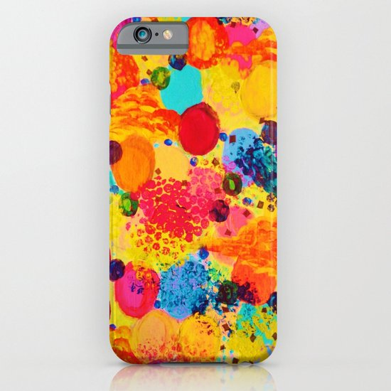 TIME FOR BUBBLY 2 - Fun Fiery Orange Red Whimsical Bubbles Bright Colorful Abstract Acrylic Painting iPhone & iPod Case