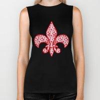 Red stars on grunge textured white background  Biker Tank