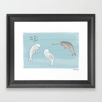 Beluga Meets Narwhal  Framed Art Print