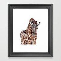 Giraffe With Baby Giraff… Framed Art Print