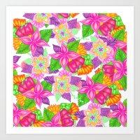 Colorful Neon Pink Green… Art Print