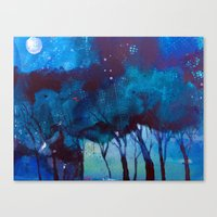 Trees At Moonlight Canvas Print