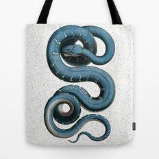 Blue White Vintage Snake Illustration Animal Art Tote Bag