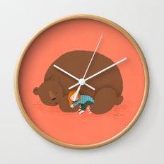 Bear and girl: sleeping Wall Clock