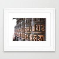 Swayambhunath Prayer Wheels Framed Art Print