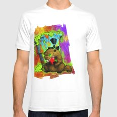 Radioactive Groundhog Eating an Apple Mens Fitted Tee SMALL White
