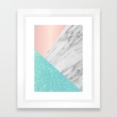 Real Italian Marble with Pink and Blue Framed Art Print