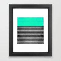 Mint Gray Stripes Framed Art Print