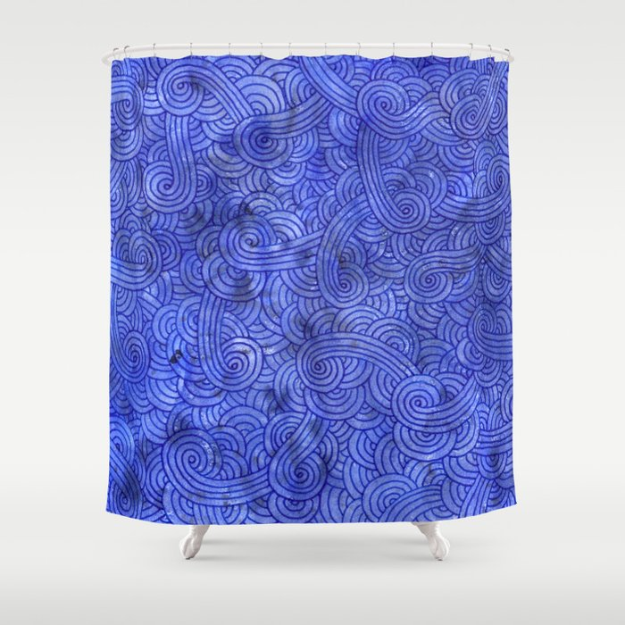 royal blue doodles shower curtain by savousepate society6