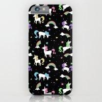 Unicorns and Rainbows - black -tiny iPhone 6 Slim Case
