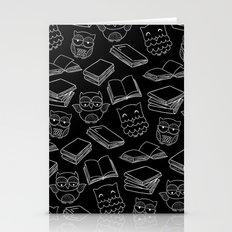 Books And Owls Black Pri… Stationery Cards