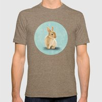 Portrait of a little bunny Mens Fitted Tee Tri-Coffee SMALL