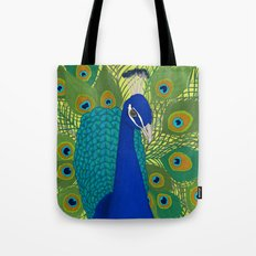 Peacock in Colour Tote Bag