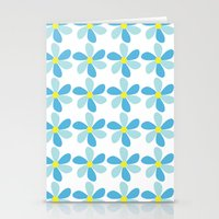 Blue Flower Pattern Stationery Cards