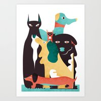 dogs Art Prints featuring DOGS by Eleonora