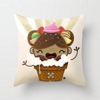 Ice Cream Chestnut Girl Throw Pillow