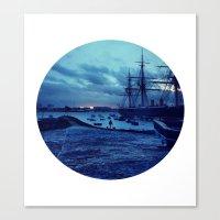 Telescope 3 Harbour Twil… Canvas Print