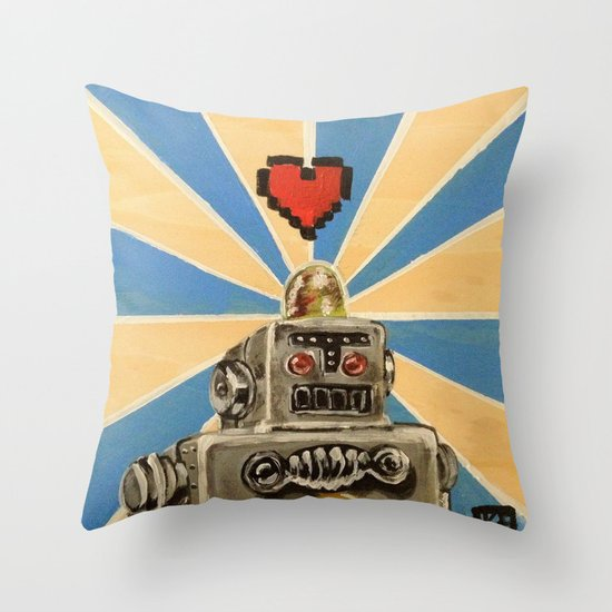 8 Bit Love Machine Throw Pillow