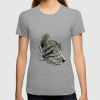 Sleep Through the Day (Cat) Womens Fitted Tee Tri-Grey SMALL