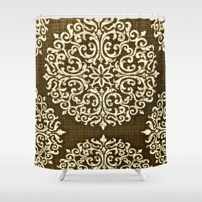 Damask Brown And Beige Fleur De Lis Paisley Vintage Pattern Shower Curtain By