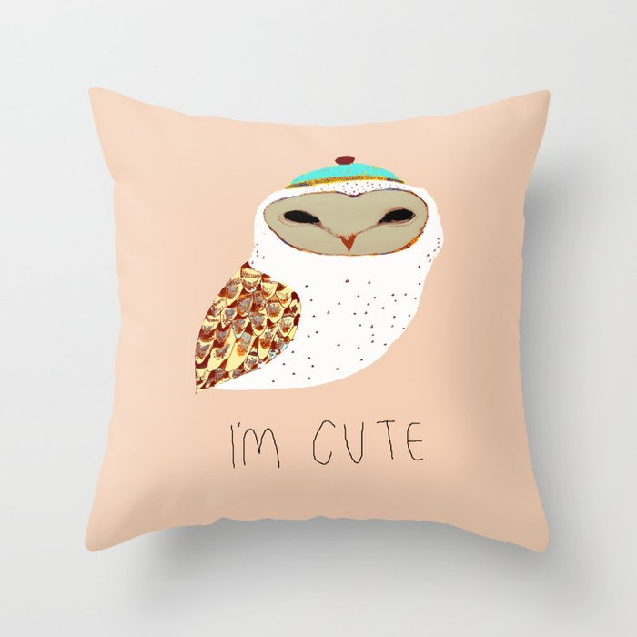Cute Pillow Illustration : i m cute owl illustration Throw Pillow by Ashley Percival Illustrator Society6