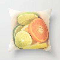Citrus on White Throw Pillow